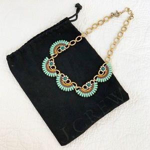 JCrew Gold Turquoise Jewel Statement Necklace
